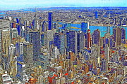 New York Newyork Digital Art Metal Prints - New York Skyline 20130430v3 Metal Print by Wingsdomain Art and Photography