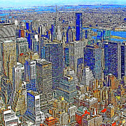Broadway Digital Art Metal Prints - New York Skyline 20130430v4-square Metal Print by Wingsdomain Art and Photography