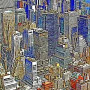 Broadway Digital Art Metal Prints - New York Skyline 20130430v5-square Metal Print by Wingsdomain Art and Photography