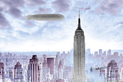 Red And Pink Sky Posters - New York Skyline and Blimp Poster by Tony Rubino