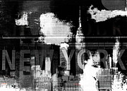 Nyc Mixed Media Framed Prints - New York Skyline Collage  Framed Print by AdSpice Studios