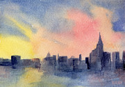 City Skylines Paintings - New York Skyline Empire State Building Pink and Yellow Watercolor Painting of NYC by Beverly Brown Prints