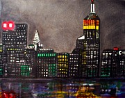 New York City Skyline Painting Framed Prints - New York Skyline Framed Print by Laura Barbosa