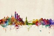 Urban Watercolor Digital Art Metal Prints - New York Skyline Metal Print by Michael Tompsett