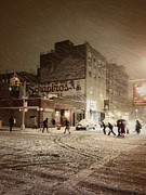 Snow Manhattan Prints - New York - Snow on a City Street Print by Vivienne Gucwa