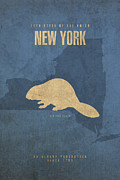 New York Mixed Media Metal Prints - New York State Facts Minimalist Movie Poster Art  Metal Print by Design Turnpike