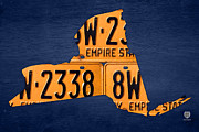 Cities Mixed Media Metal Prints - New York State License Plate Map Metal Print by Design Turnpike