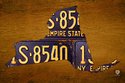 Cities Mixed Media Prints - New York State License Plate Map - Empire State Orange Edition Print by Design Turnpike