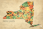 Island Mixed Media Prints - New York State Map Crystalized Counties on Worn Canvas by Design Turnpike Print by Design Turnpike