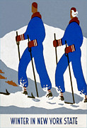 Winter Travel Mixed Media Posters - New York State Skiing Poster Poster by Charles Ross
