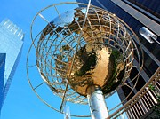 Warner Park Metal Prints - New York Steel Globe Metal Print by Jenny Hudson