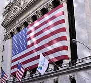 Patriotic Scenes Prints - New York Stock Exchange American Flag 2 Print by Allen Beatty