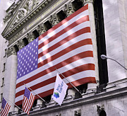 Patriotic Scenes Prints - New York Stock Exchange American Flag Print by Allen Beatty