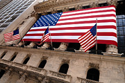 Investment Prints - New York Stock Exchange American Flag Print by Amy Cicconi