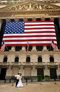 American Flag Posters - New York Stock Exchange Bride and Groom Dancing Poster by Amy Cicconi