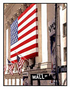 American Flag Manhattan Framed Prints - New York Stock Exchange Framed Print by Linda  Parker