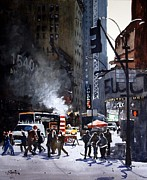 Repair Painting Framed Prints - New York Street Repairs Framed Print by Ron Bigony