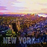 Cities Digital Art Metal Prints - New York Sunset Metal Print by Lutz Baar