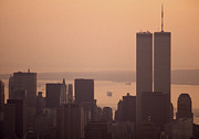 Twin Towers Of The World Trade Center Framed Prints - New York Sunset Framed Print by Shaun Higson