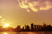 Manhattan Sunset Posters - New York Sunset Skyline Poster by Vivienne Gucwa