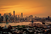 Skylines Metal Prints - New York Sunset - Skylines of Manhattan and Brooklyn Metal Print by Vivienne Gucwa