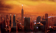 Urban Buildings Posters - New York Sunset Poster by Steve Crisp