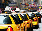 Taxi Cab Framed Prints - New York - Taxi Cabs Framed Print by Sharon Cummings
