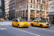 6th Street Photo Posters - New York Taxicabs on 6th Avenue Poster by Thomas Marchessault