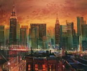 Skyline Painting Posters - New York the Emerald City Poster by Tom Shropshire