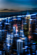 Metropolis Digital Art - New York - the night awakes - blue I by Hannes Cmarits