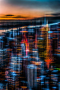 Nyc Digital Art - New York- the night awakes - orange by Hannes Cmarits