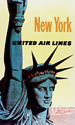 Landmarks Posters - New York United Airlines Poster by Mark Rogan