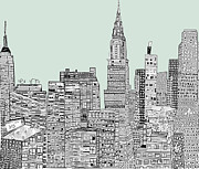 American City Drawings Prints - New York Vintage  Print by Brian Buckley