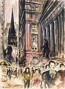 Picturesque Drawings Posters - New York Wall Street 80 - Impressionistic Art Poster by Peter Art Print Gallery  - Paintings Photos Posters