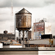 Industrial Art Framed Prints - New York. water tower 16 Framed Print by Gary Heller