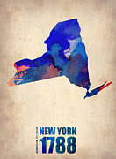 World Map Digital Art Posters - New York Watercolor Map Poster by Irina  March
