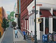 New York Pastels Posters - New York Wine Bar Poster by Marion Derrett