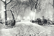 Winter Night Framed Prints - New York Winter Landscape - Madison Square Park Snow Framed Print by Vivienne Gucwa