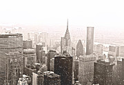 Skylines Metal Prints - New York Winter - Skyline in the Snow Metal Print by Vivienne Gucwa