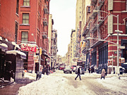 Nyc Fire Escapes Framed Prints - New York Winter - Snowy Street in Soho Framed Print by Vivienne Gucwa