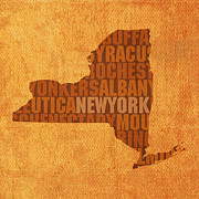 York Mixed Media Framed Prints - New York Word Art State Map on Canvas Framed Print by Design Turnpike