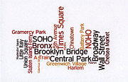 Wordcloud Prints - New York Wordcloud Print by David Bearden