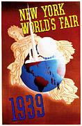 Winter Travel Mixed Media Posters - New York Worlds Fair 1939 Vintage Travel Art  Poster by Presented By American Classic Art