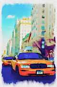 New York Digital Art Metal Prints - New York Yellow Cabs Metal Print by Yury Malkov