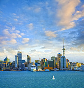 Auckland Prints - New Zealand Auckland Skyline at Sunset Print by Colin and Linda McKie