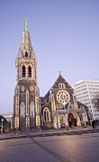 New Zealand Prints - New Zealand Christchurch Cathedral Square at Twilight Print by Colin and Linda McKie