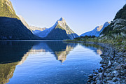 Seascape.scenic Framed Prints - New Zealand Milford Sound Framed Print by Colin and Linda McKie