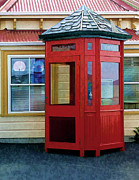 Wood Shingles Posters - New Zealand Red Telephone Booth Poster by Linda Phelps