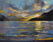 Oil. . Realism. Paintings - New Zealand Sunset by Michael Creese