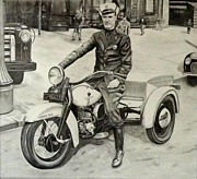 Officer Drawings Framed Prints - Newark Motor Officer Framed Print by Charles Rogers